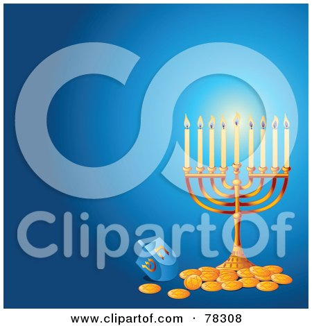 Royalty-Free (RF) Clipart Illustration of a Glowing Hanukkah Menorah With Gold Coins On A Blue Background by Pushkin
