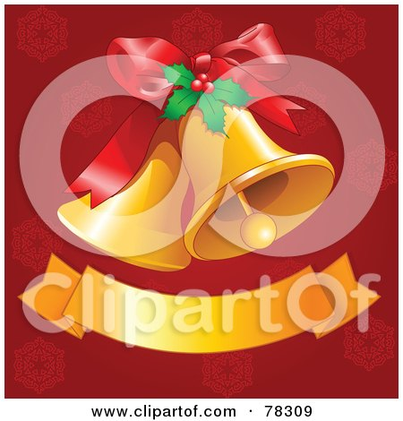 Royalty-Free (RF) Clipart Illustration of Golden Christmas Bells With Holly And A Blank Banner On Red by Pushkin