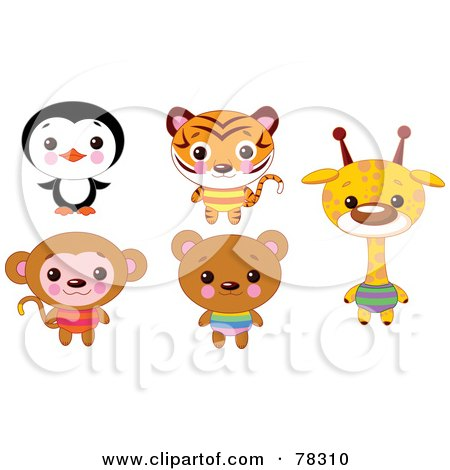 Royalty-Free (RF) Clipart Illustration of a Digital Collage Of Cute Animals With Big Heads; Penguin, Tiger, Monkey, Bear And Giraffe by Pushkin
