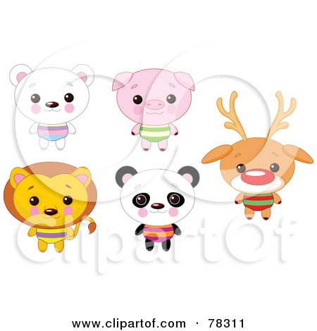 Royalty-Free (RF) Clipart Illustration of a Digital Collage Of Cute Animals With Big Heads; Polar Bear, Pig, Lion, Panda And Rudolph by Pushkin
