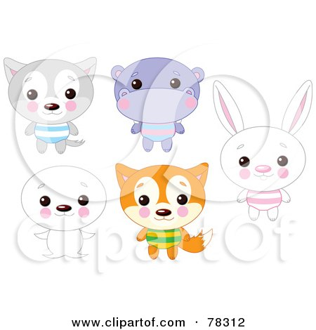 Royalty-Free (RF) Clipart Illustration of a Digital Collage Of Cute Animals With Big Heads; Wolf, Hippo, Seal, Fox And Rabbit by Pushkin