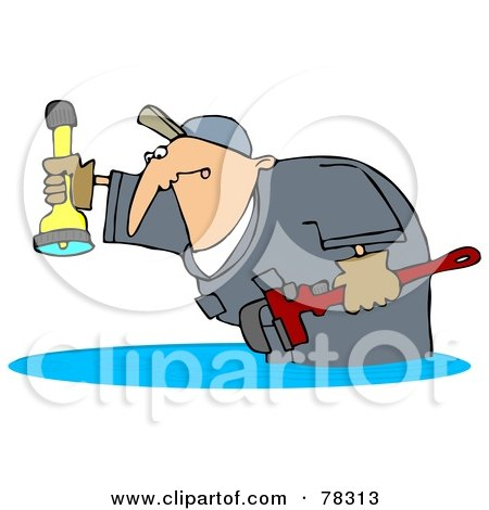 Royalty-Free (RF) Clipart Illustration of a Plumber Man Standing In A Puddle Of Water Backup, Holding A Wrench And Shining A Flashlight by djart