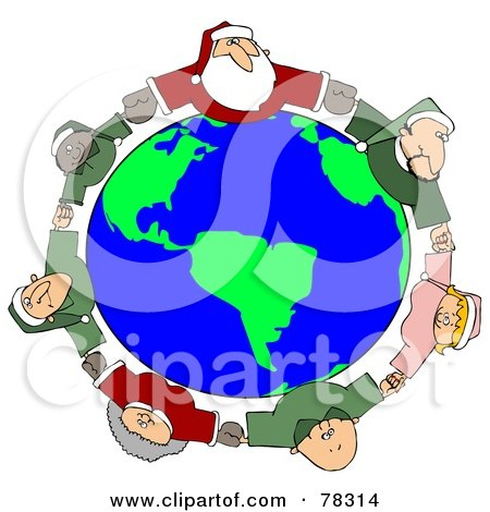 Royalty-Free (RF) Clipart Illustration of a Circle Of Diverse Elves With Santa And Mrs Claus, Holding Hands And Looking Up by djart