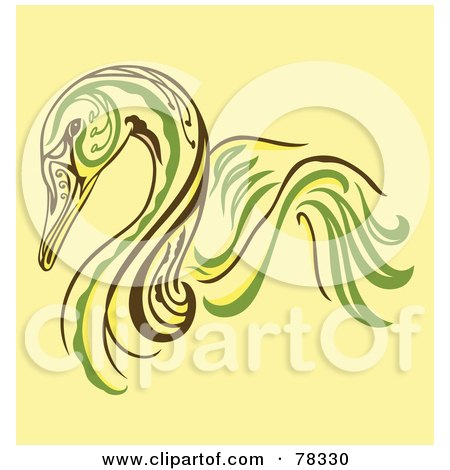 Royalty-Free (RF) Clipart Illustration of an Elegant Green, Yellow And Brown Swan Design by Cherie Reve