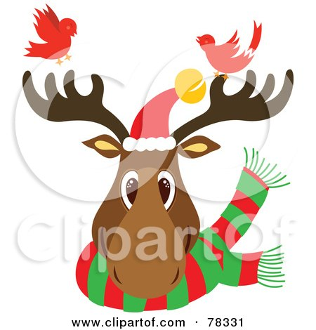 Royalty-Free (RF) Clipart Illustration of a Christmas Reindeer Head Wearing A Scarf And Santa Hat, With Two Red Birds by Cherie Reve