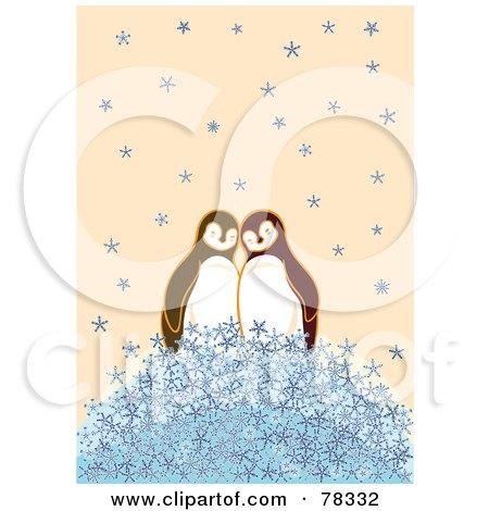 Penguin Couple Drawing Cute Penguin Couple on a Pile