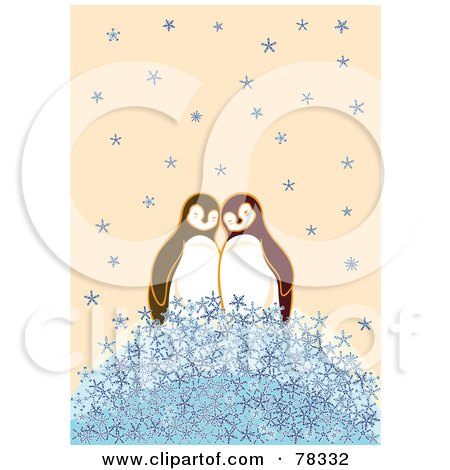 Royalty-Free (RF) Clipart Illustration of a Cute Penguin Couple On A Pile Of Snowflakes by Cherie Reve