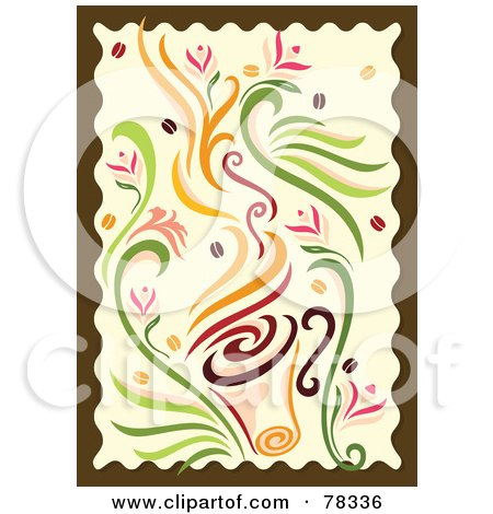 Royalty-Free (RF) Clipart Illustration of a Coffee And Floral Design With Beans And A Brown Border by Cherie Reve