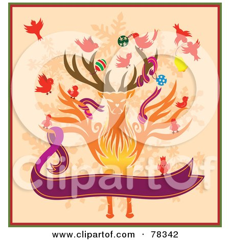 Royalty-Free (RF) Clipart Illustration of Birds Decorating A Christmas Reindeer With A Purple Banner On Orange by Cherie Reve
