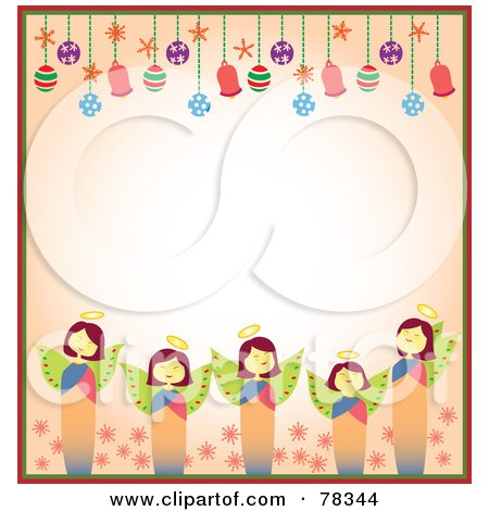 Royalty-Free (RF) Clipart Illustration of a Border Of Christmas Angels And Christmas Bulbs With Copyspace by Cherie Reve