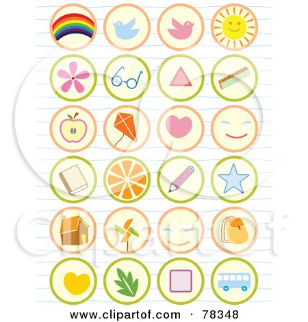Royalty-Free (RF) Clipart Illustration of a Digital Collage Of Found School Icon Buttons On Lined Paper by Cherie Reve