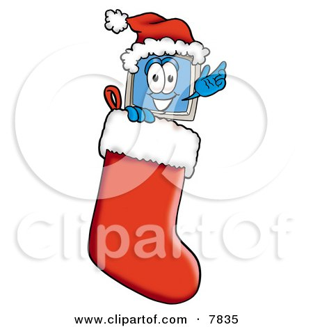Clipart Picture of a Desktop Computer Mascot Cartoon Character Wearing a Santa Hat Inside a Red Christmas Stocking by Toons4Biz