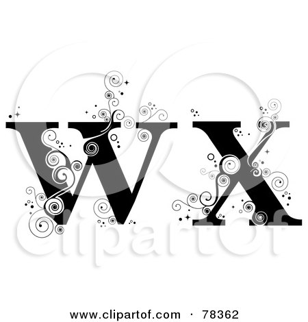 Royalty-Free (RF) Clipart Illustration of a Vine Alphabet Lowercase Letters W And X by BNP Design Studio