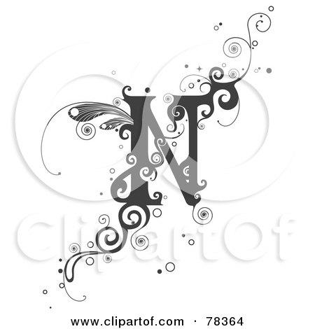 royalty free rf clipart illustration of a vine alphabet letter n by bnp design studio 78364. Black Bedroom Furniture Sets. Home Design Ideas