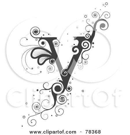 O Alphabet Design Vine Alphabet Letter V