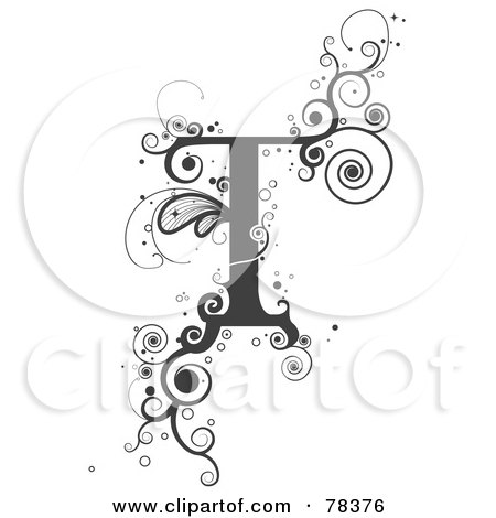 Royalty Free RF Clipart Illustration Of A Vine Alphabet Letter Tjpg