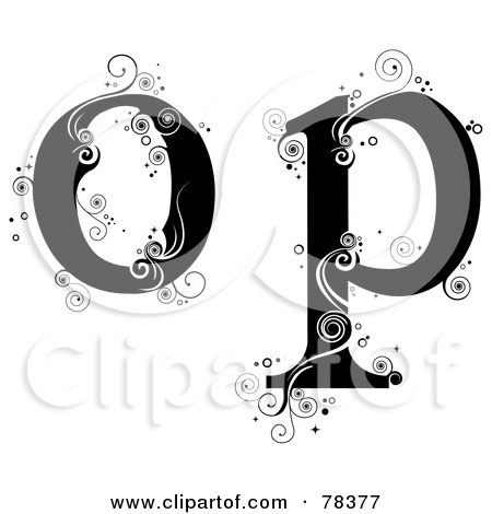 Royalty-Free (RF) Clipart Illustration of a Vine Alphabet Lowercase Letters O And P by BNP Design Studio