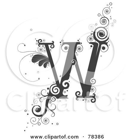 Royalty-Free (RF) Clipart Illustration of a Vine Alphabet Letter W by BNP Design Studio