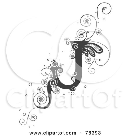 Royalty free rf clipart illustration of a vine alphabet letter j by