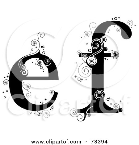 Royalty-Free (RF) Clipart Illustration of a Vine Alphabet Lowercase Letters E And F by BNP Design Studio