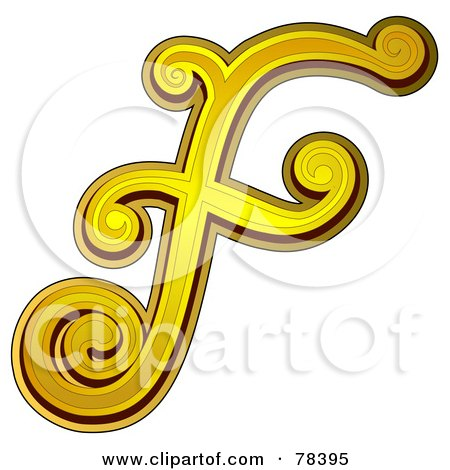 Royalty-Free (RF) Clipart Illustration of an Elegant Gold Letter F ...