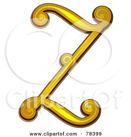 Royalty-Free (RF) Clipart Illustration of an Elegant Gold Letter Z by BNP Design Studio