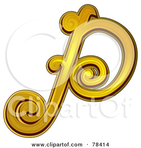 Royalty-Free (RF) Clipart Illustration of an Elegant Gold Letter P by BNP Design Studio