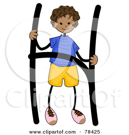 Royalty-Free (RF) Clipart Illustration of a Stick Kid Alphabet Letter H With A Boy by BNP Design Studio