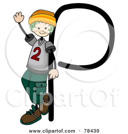 Royalty-Free (RF) Clipart Illustration of a Stick Kid Alphabet Letter P With A Boy by BNP Design Studio