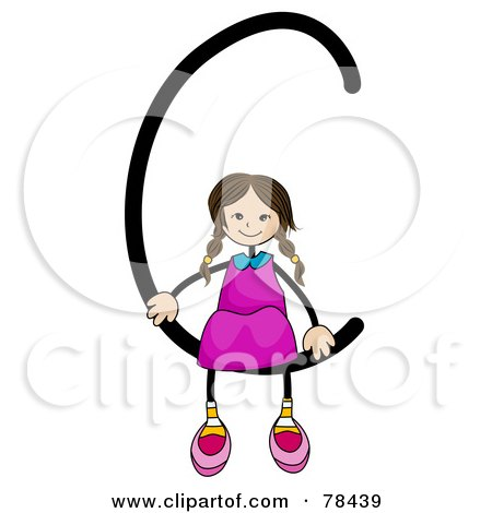 Royalty-Free (RF) Clipart Illustration of a Stick Kid Alphabet Letter C With A Girl by BNP Design Studio