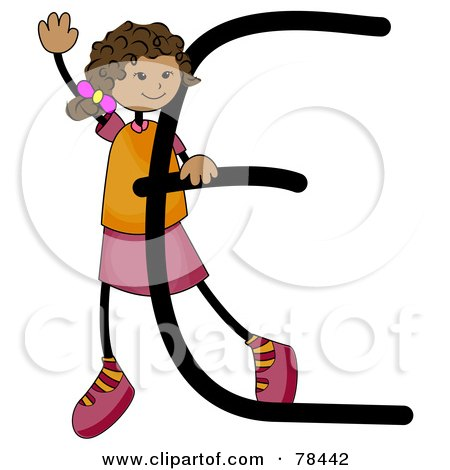 Royalty-Free (RF) Clipart Illustration of a Stick Kid Alphabet Letter E With A Girl by BNP Design Studio