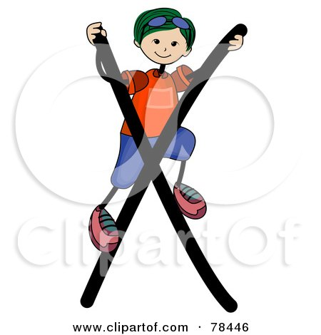 Royalty-Free (RF) Clipart Illustration of a Stick Kid Alphabet Letter X With A Boy by BNP Design Studio