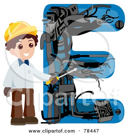 Royalty-Free (RF) Clipart Illustration of an Alphabet Kid Letter E With An Electrician by BNP Design Studio