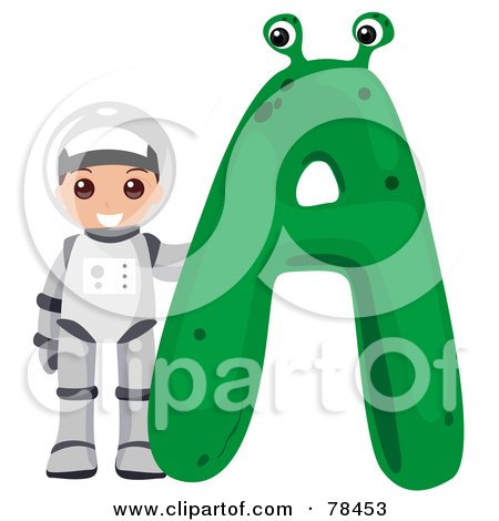 Royalty-Free (RF) Clipart Illustration of an Alphabet Kid Letter A With An Astronaut by BNP Design Studio