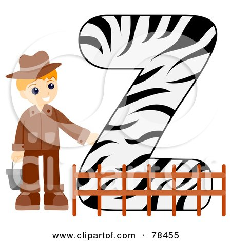 Royalty-Free (RF) Clipart Illustration of an Alphabet Kid Letter Z With A Zookeeper by BNP Design Studio