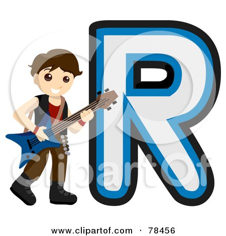 Royalty-Free (RF) Clipart Illustration of an Alphabet Kid Letter R With A Rock Star by BNP Design Studio