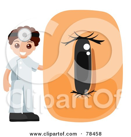 Royalty-Free (RF) Clipart Illustration of an Alphabet Kid Letter O With An Optometrist by BNP Design Studio