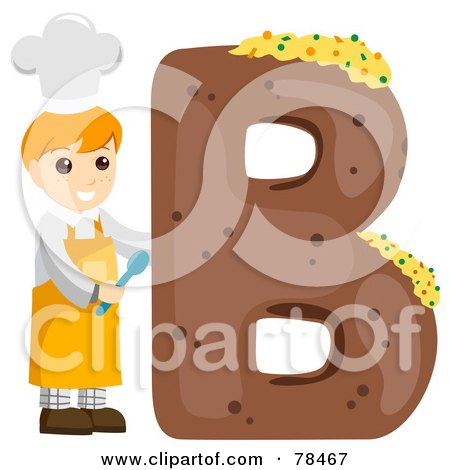Royalty-Free (RF) Clipart Illustration of an Alphabet Kid Letter B With A Baker by BNP Design Studio