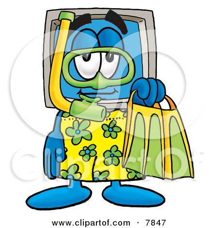 Clipart Picture of a Desktop Computer Mascot Cartoon Character in Green and Yellow Snorkel Gear by Toons4Biz
