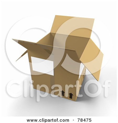 Royalty-Free (RF) Clipart Illustration of a 3d Cardboard Moving Box by Leo Blanchette