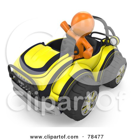 Royalty-Free (RF) Clipart Illustration of a 3d Orange Design Mascot Man Driving A Yellow Buggy Sports Car by Leo Blanchette