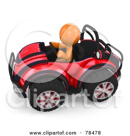 3d Orange Design Mascot Man Driving A Red Buggy Sports Car Posters, Art Prints