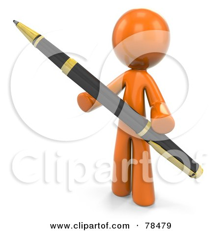 Royalty-Free (RF) Clipart Illustration of a 3d Orange Design Mascot Man Holding A Business Pen by Leo Blanchette