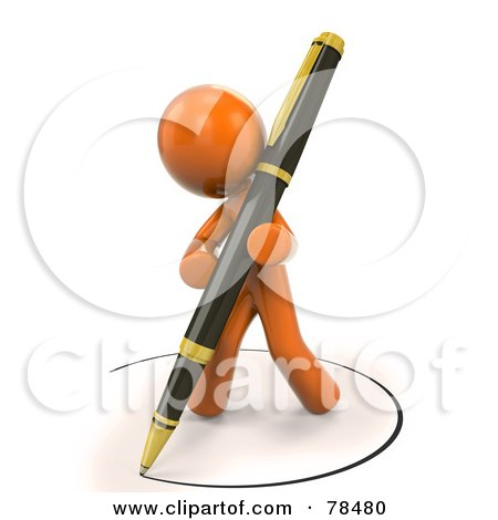 Royalty-Free (RF) Clipart Illustration of a 3d Orange Design Mascot Man Drawing An Ink Circle With A Pen by Leo Blanchette