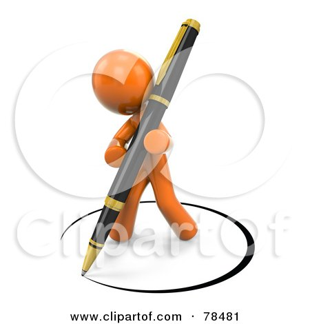 Royalty-Free (RF) Clipart Illustration of a 3d Orange Design Mascot Man Drawing A Circle Of Ink Around Himself With A Pen by Leo Blanchette
