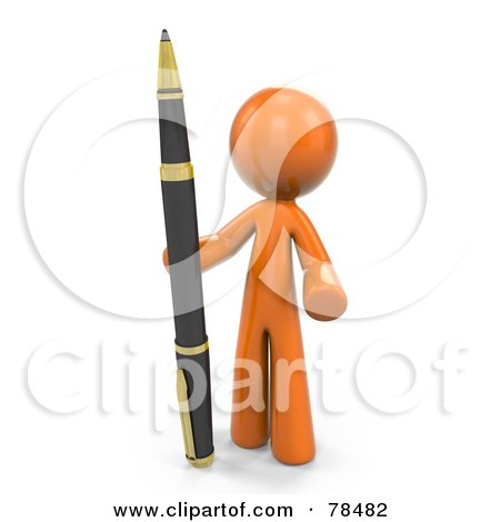 Royalty-Free (RF) Clipart Illustration of a 3d Orange Design Mascot Man Standing With A Business Pen by Leo Blanchette