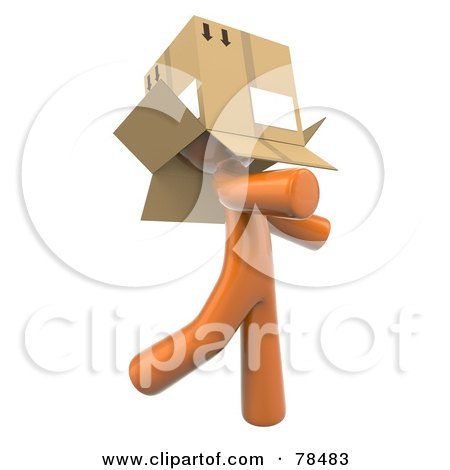3d Orange Design Mascot Man Walking Around With A Box Over His Head Posters, Art Prints