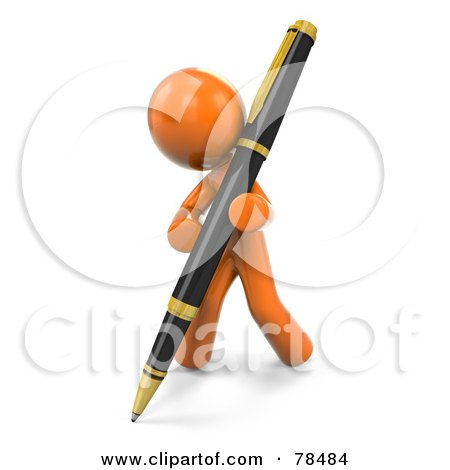 Royalty-Free (RF) Clipart Illustration of a 3d Orange Design Mascot Man Writing With A Pen by Leo Blanchette