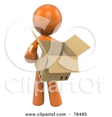 Royalty-Free (RF) Clipart Illustration of a 3d Orange Design Mascot Man Carrying A Moving Box by Leo Blanchette