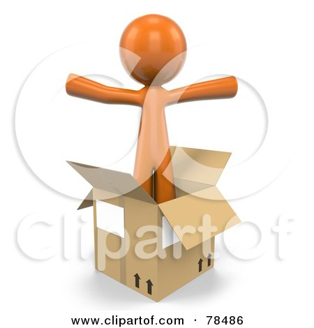 Royalty-Free (RF) Clipart Illustration of a 3d Orange Design Mascot Man Standing In An Empty Moving Box by Leo Blanchette